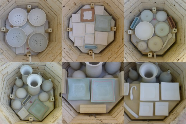 Unglazed work packed in kiln