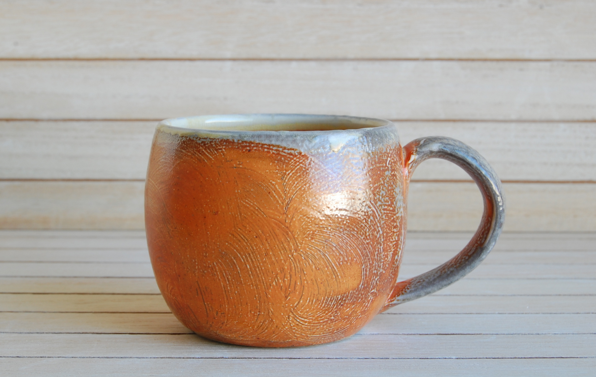Orange slip hand made ceramic mug