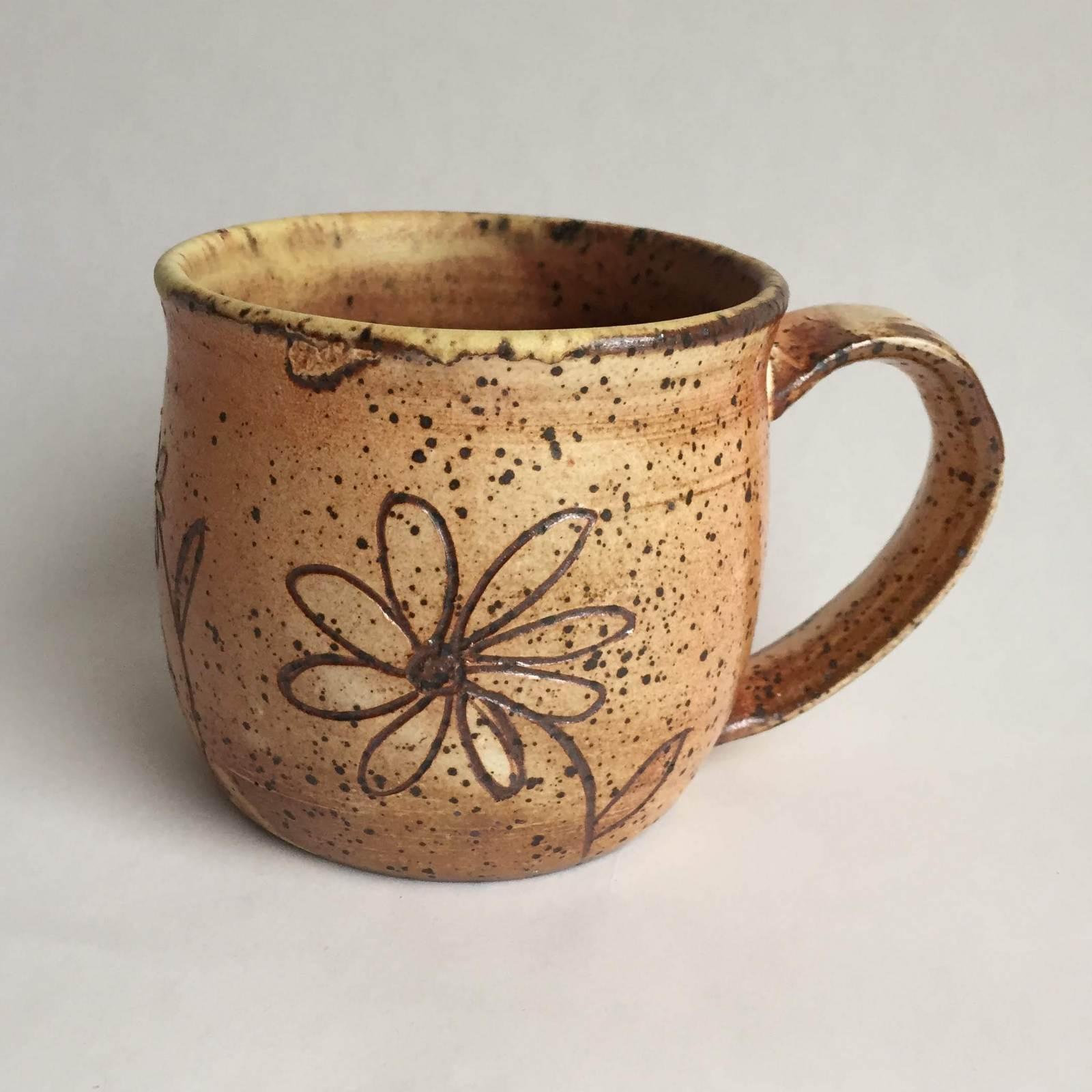 Scribed Mug Flower Design