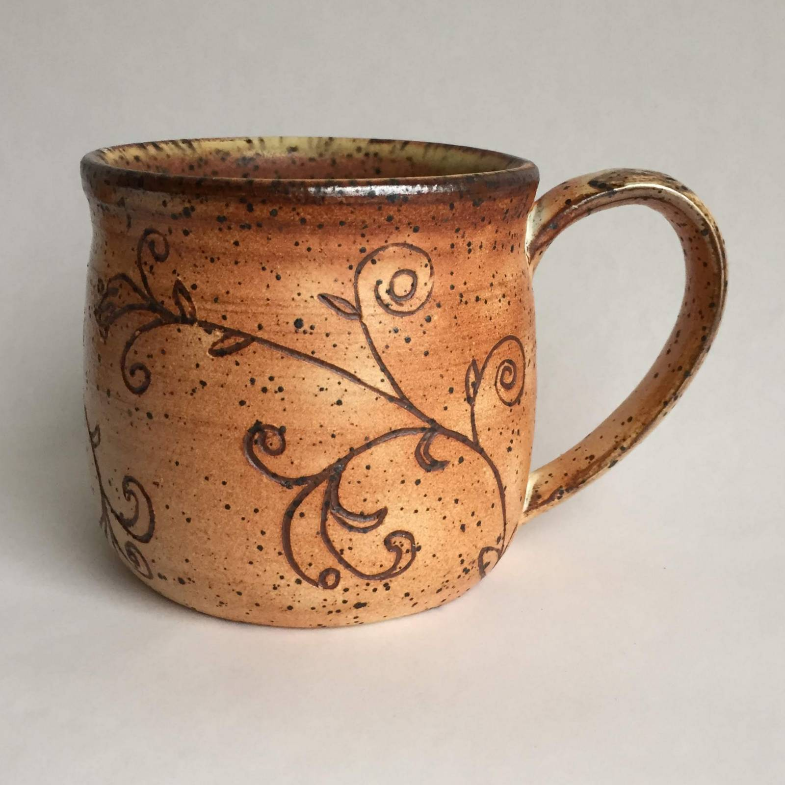 Soda Fired Mug with scribed design